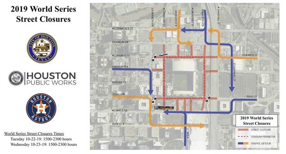 Several major downtown streets will be closed for Game 1 of the 2019 World Series Tuesday in Houston.>>>See more for celebrity fans to look out for at Game 1... Photo: City Of Houston Public Works