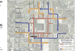 Several major downtown streets will be closed for Game 1 of the 2019 World Series Tuesday in Houston.