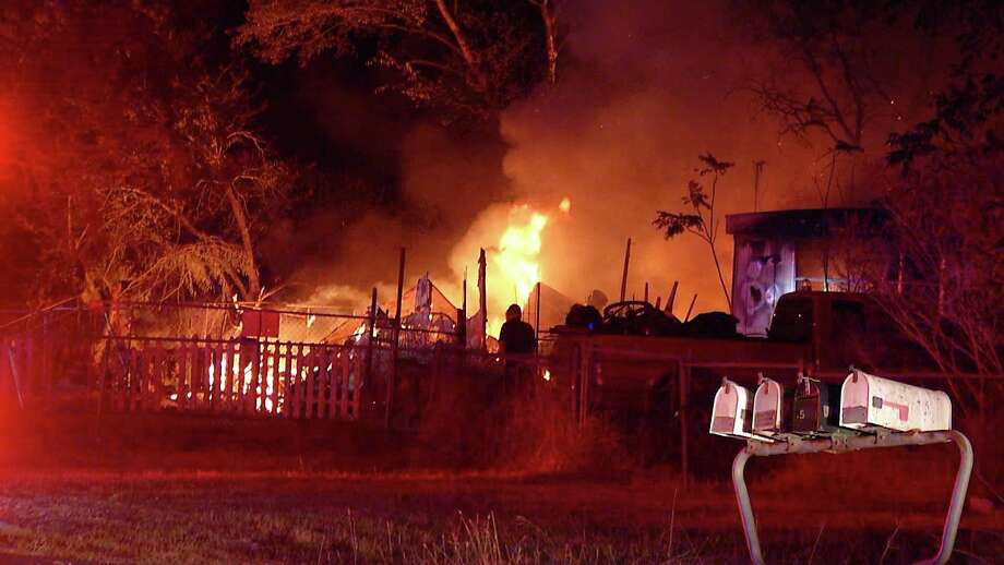 Bexar County Fire Department responded to two mobile homes on fire Tuesday morning. Photo: Ken Branca