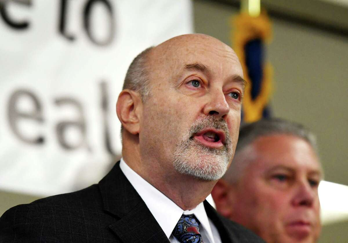 Troy Mayor Patrick Madden speaks during a press conference on Tuesday, Oct. 22, 2019, at Unity House in Troy, N.Y. (Will Waldron/Times Union)