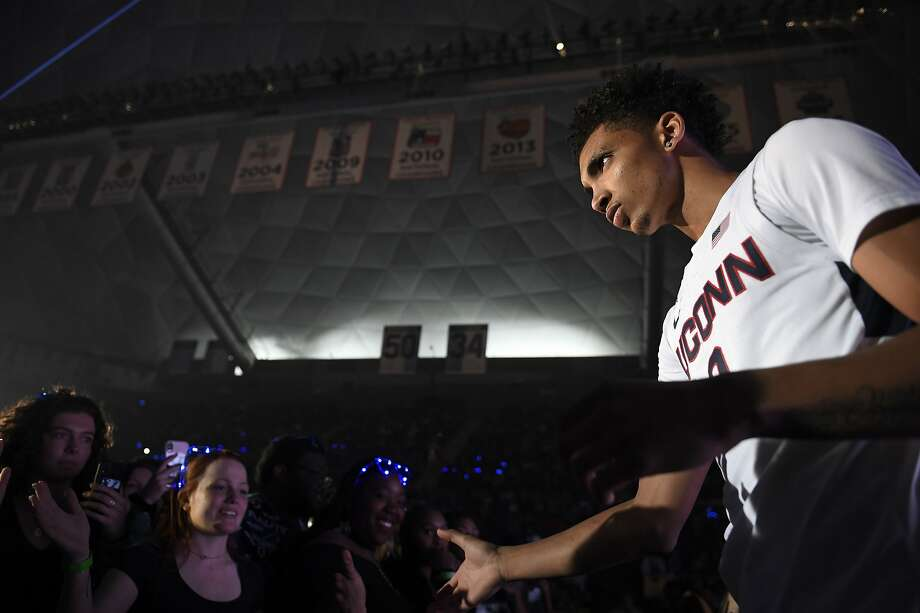 Connecticut's James Bouknight during UConn's men's and women's basketball teams annual First Night celebration in Storrs, Conn, Conn., Friday, Oct. 18, 2019, in Storrs, Conn. (AP Photo/Jessica Hill) Photo: Jessica Hill, Associated Press