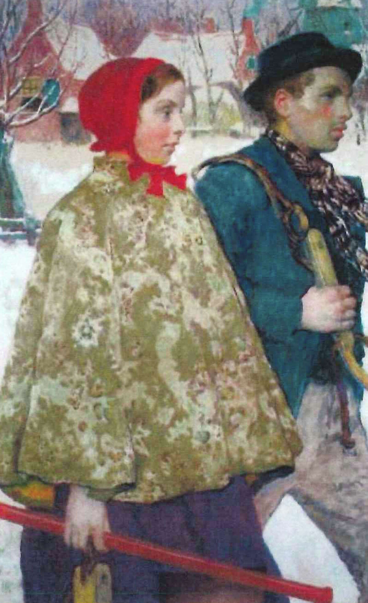"""""""Winter,"""" by artist Gari Melchers, was purchased from the Macbeth Art Gallery in New York City in 1934 by Bartlett Arkell, president of the Beechnut Packing Co. in Canajoharie and founder of the art museum there. The FBI recently seized a painting from an art museum in Canajoharie, part of an international effort to recover artwork stolen by the Nazis from the heirs of jewish publisher Rudolf Mosse, a philanthropist who died in 1920. (U.S. Government exhibit)"""