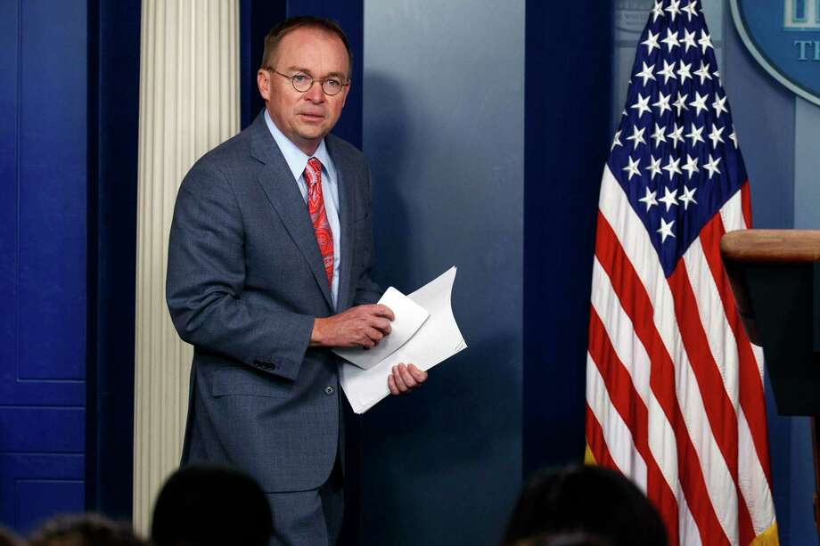 In this file photo, White House chief of staff Mick Mulvaney arrives to a news conference, in Washington. Photo: Associated Press / Copyright 2019 The Associated Press. All rights reserved.
