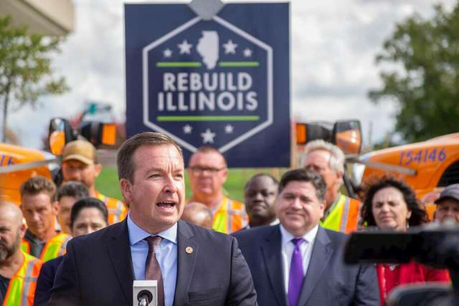 State Sen. Andy Manar, D-Bunker Hill, speaks about Rebuild Illinois Monday outside the Illinois Department of Transportation headquarters in Springfield. The $23.5 billion transportation spending plan announced by Gov. KJ.B. Pritzker includes a new I-270 Mississippi River bridge, a refurbished Joe Page Bridge over the Illinois River from Jersey to Calhoun counties and the Delhi Bypass on U.S. 67 in Jersey County.
