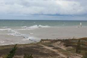 Strong waves pound Elberta on Oct. 22.
