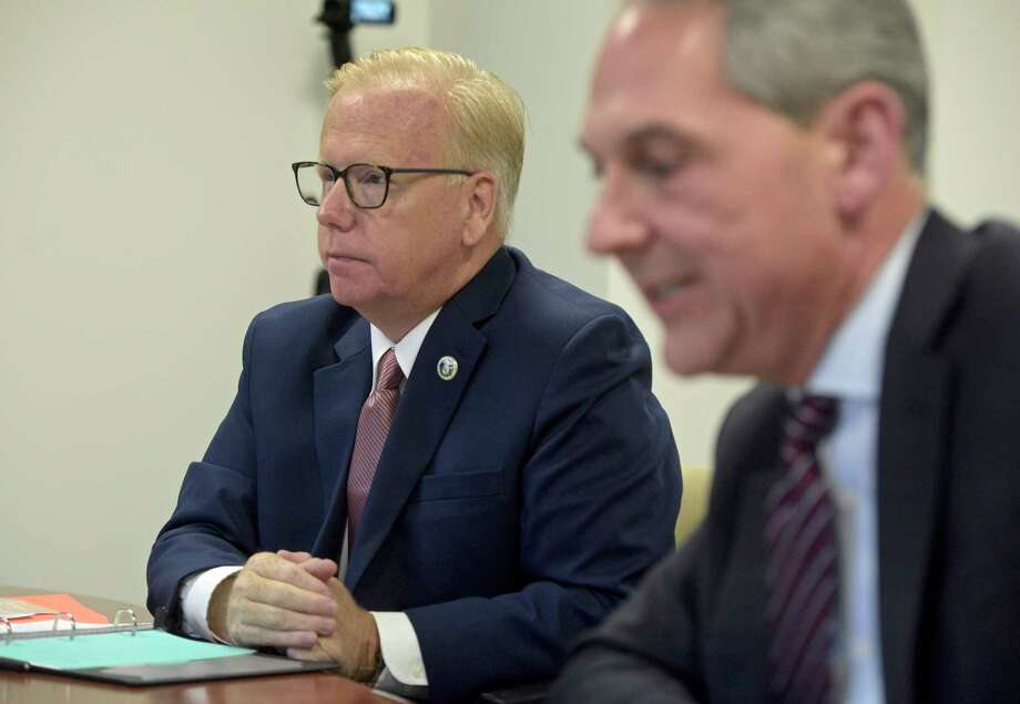 Mayoral candidates for Danbury, Republican incumbent Mark Boughton, left, and Democratic challenger Chris Setaro during an editorial board interview. Tuesday, October 22, 2019, in Danbury, Conn. Photo: H John Voorhees III, Hearst Connecticut Media / The News-Times