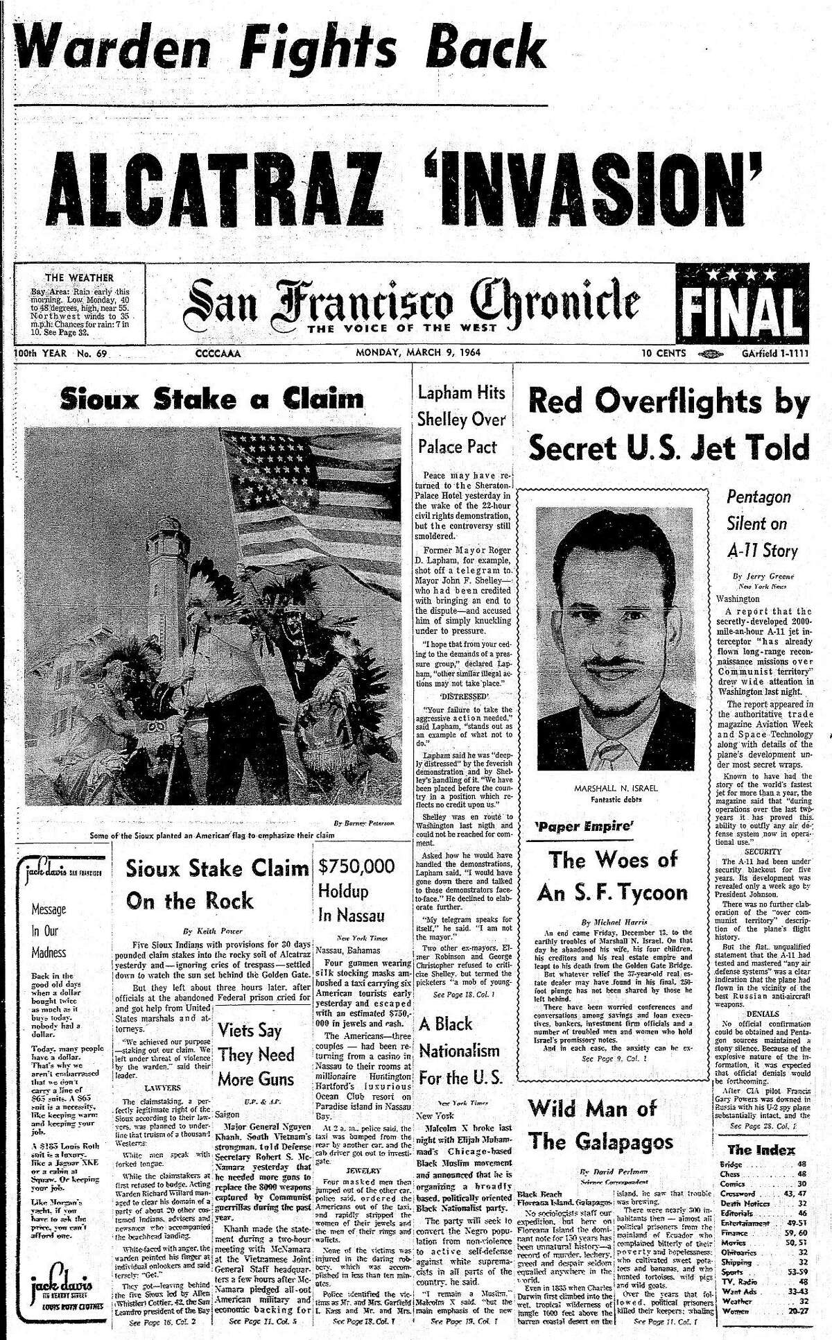 March 9, 1964 Chronicle front page coverage of a group of Sioux Indians who take a boat to Alcatraz, the former island federal prison, and claimed it for the Indian nation