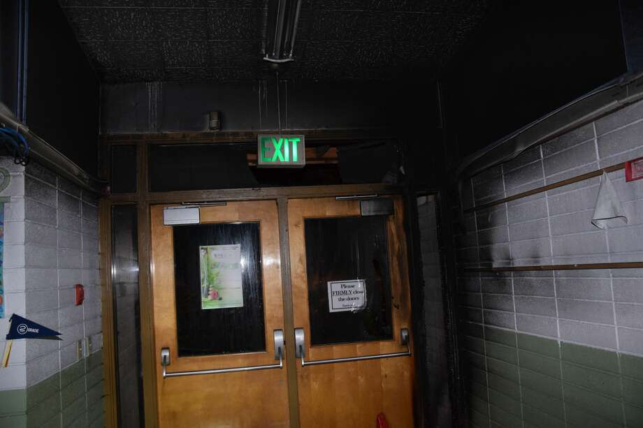 The damage to St. Bernadette Catholic School in Burien after a fire on Oct. 17, 2019 was ruled an arson. Photo: King County Sheriff's Office