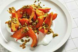 Roasted Squash With Yogurt and Spiced, Buttered Pistachios.