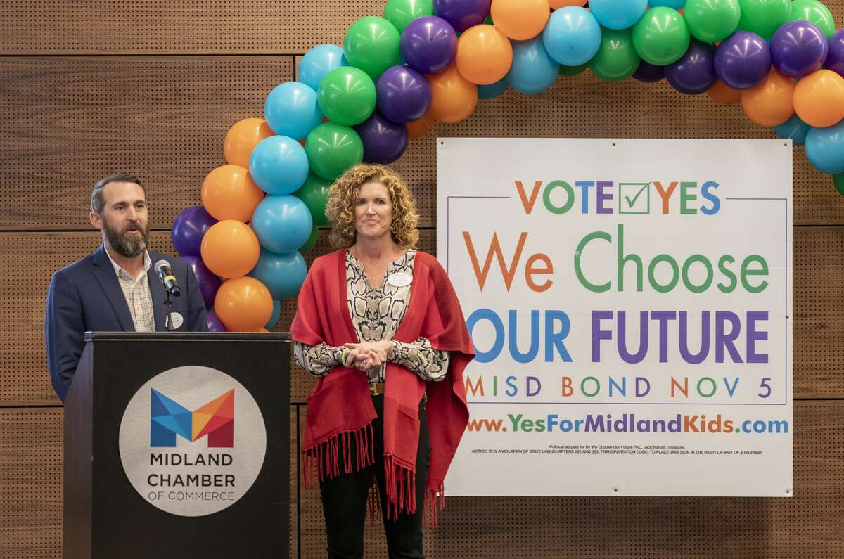 Dave Joyner speaks at the MISD bond rally for early voting Tuesday, Oct. 22, 2019 at the Bush Convention Center.