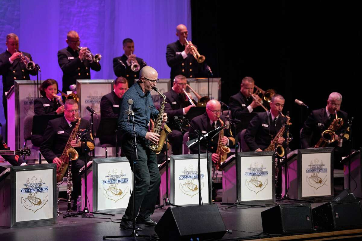 University of North Florida professor Todd DelGuidice performs as a guest soloist with the U.S. Navy Band Commodores jazz ensemble during a concert in 2018.