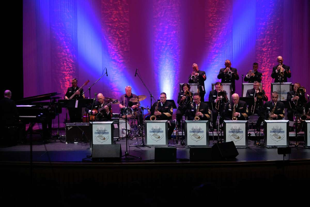 The U.S. Navy Band Commodores jazz ensemble welcomes special guest and Commodores almunus Clyde Connor, drum set, in a Florida concert in 2018.