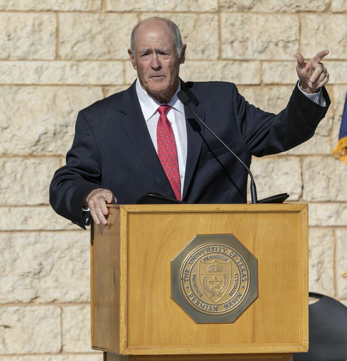 State Sen. Kel Seliger speaks at the grand opening for the Engineering Building in October of 2019 at the UTPB Midland campus.