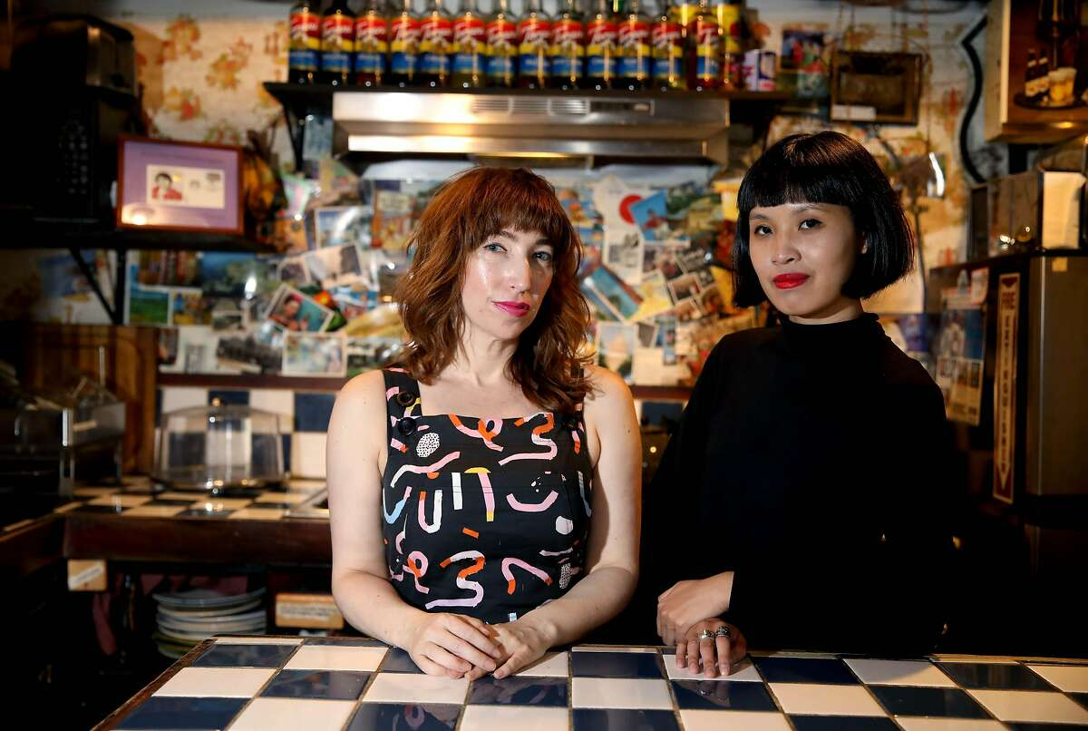 Melissa Graeber and Helen Tseng pose for a portrait at the Secret Alley in San Francisco, Calif., on Tuesday, October 1, 2019. They are the hosts of the Astral Projection Radio Hour, a weekly radio show about astrology, spirituality and witchcraft that records at the Secret Alley in the Mission.