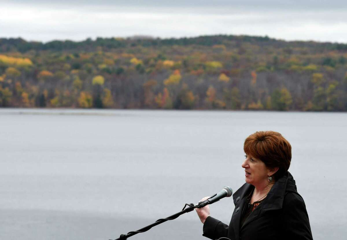 Mayor Kathy Sheehan speaks during a press conference on Tuesday, Oct. 22, 2019, at the Alcove Reservoir in Coeymans Hollow, N.Y., where she announced a partnership to preserve 6,400 acres of city-owned land and generate revenue from the sale of carbon credits. The Nature Conservancy, Mohawk Hudson Land Conservancy, and the Albany Water Board worked on the agreement. The Albany Water Board received its first payment of nearly $100,000 for the sale of carbon credits. (Will Waldron/Times Union)
