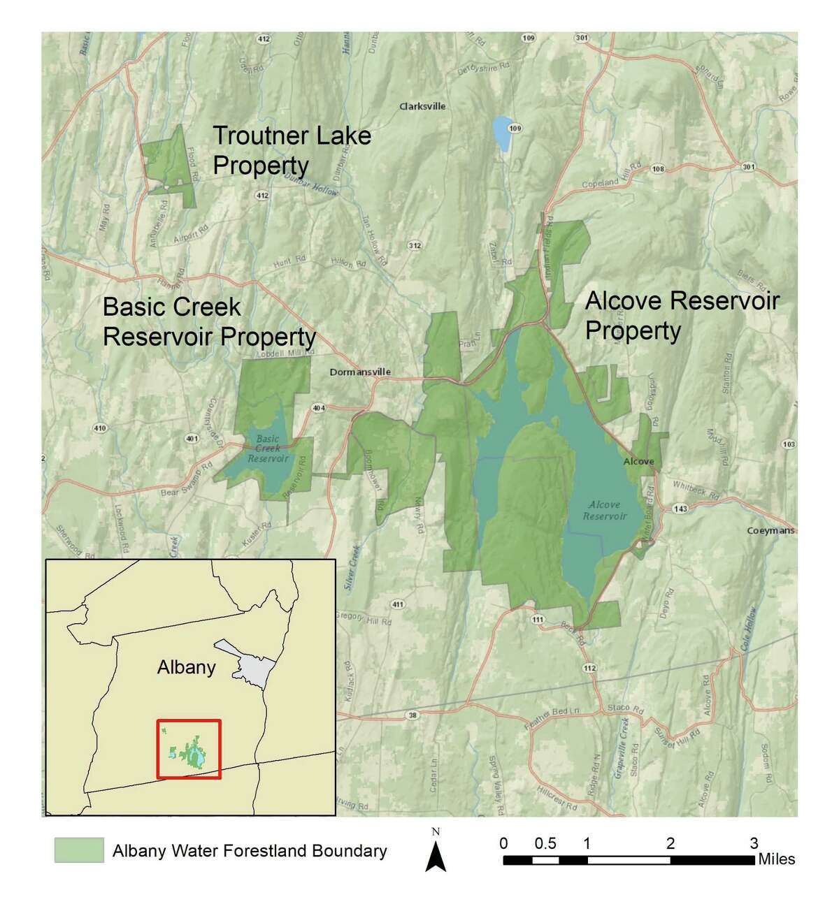 Map showing 6,400 acres of Albany land that will be preserved and generate revenue from the sale of carbon credits. (City of Albany)