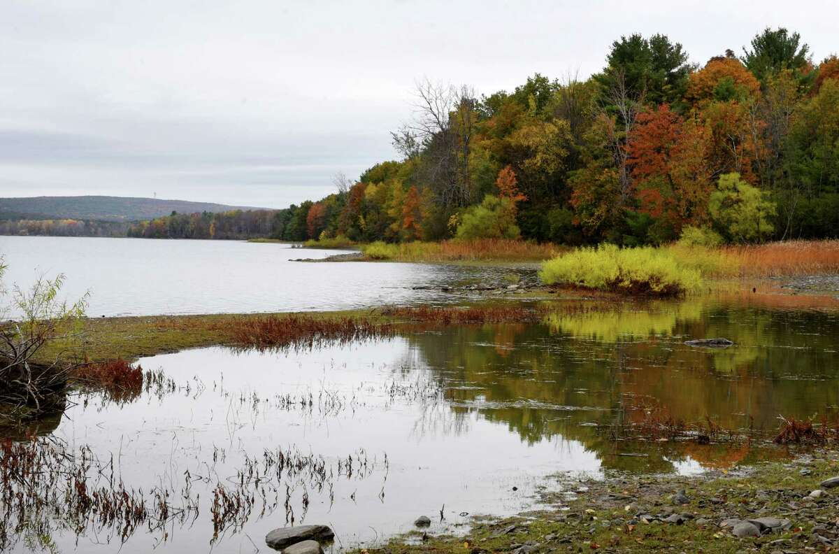 View of the Alcove Reservoir on Tuesday, Oct. 22, 2019, in Coeymans Hollow, N.Y. New York said there will be a vaccine clinic June 10, 2021 at the Coeymans Hollow fire department to get vaccination rates up in this rural hamlet. (Will Waldron/Times Union)