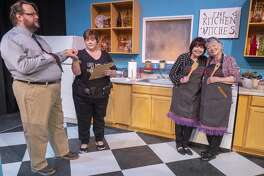 Nicholas McRae as Stephen Bidddle and Laura Abbott as Robin share an antacid as Gail Theobald as Isobel Lomax and Trudie Thomason as Dolly Biddle get along 10/22/19 in a scene from MCT's production of Kitchen Witches. Tim Fischer/Reporter-Telegram