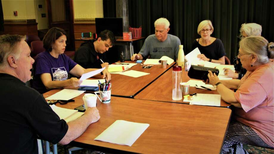 "At the ""Admissions"" table read are, clockwise from lower left, director Tom Holehan, Lucy Babbitt and Robert Thomas Halliwell of Stratford, Pat Leo of Monroe, Janet Rathert of New Canaan, Gaetana Barbano-Grinder, costumes, of Milford and Ruth Anne Baumgarten ofFairfield. Photo: Square One Theatre Company / Contributed Photo"