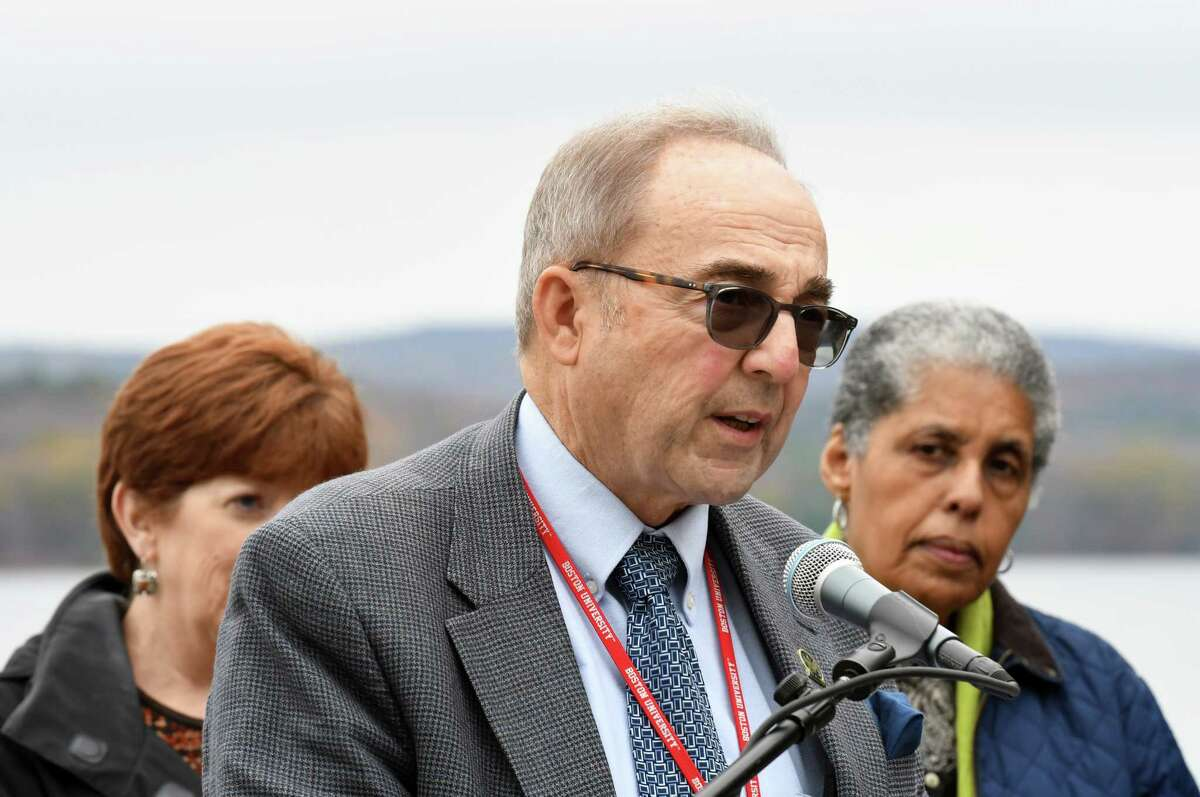 Albany Water Commissioner Joe Coffey speaks during a press conference on Tuesday, Oct. 22, 2019, at the Alcove Reservoir in Coeymans Hollow, N.Y. A partnership was announced to preserve 6,400 acres of land and generate revenue from the sale of carbon credits. The Nature Conservancy, Mohawk Hudson Land Conservancy, and the Albany Water Board worked on the agreement. The Albany Water Board received its first payment of nearly $100,000 for the sale of carbon credits. (Will Waldron/Times Union)