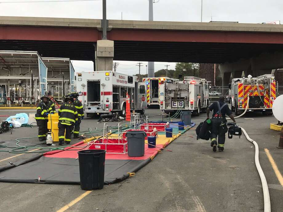Emergency personnel responded after approximately 2,000 gallons of gas spilled at the Gulf Terminal in New Haven Tuesday. Photo: CONTRIBUTED PHOTO