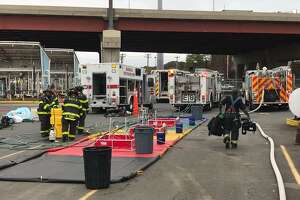 Emergency personnel responded after approximately 2,000 gallons of gas spilled at the Gulf Terminal in New Haven Tuesday.