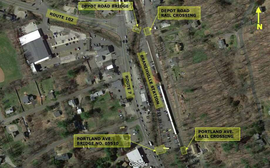 The closing and reopening of the Depot Road bridge was discussed at a town meeting on Oct. 16. The state has plans to close the bridge at Portland Avenue, the more southern of the two bridges that give access to the Branchville Train Station, but wants to keep on bridge open. Photo: Close, Jensen, And Miller / Contributed Photo
