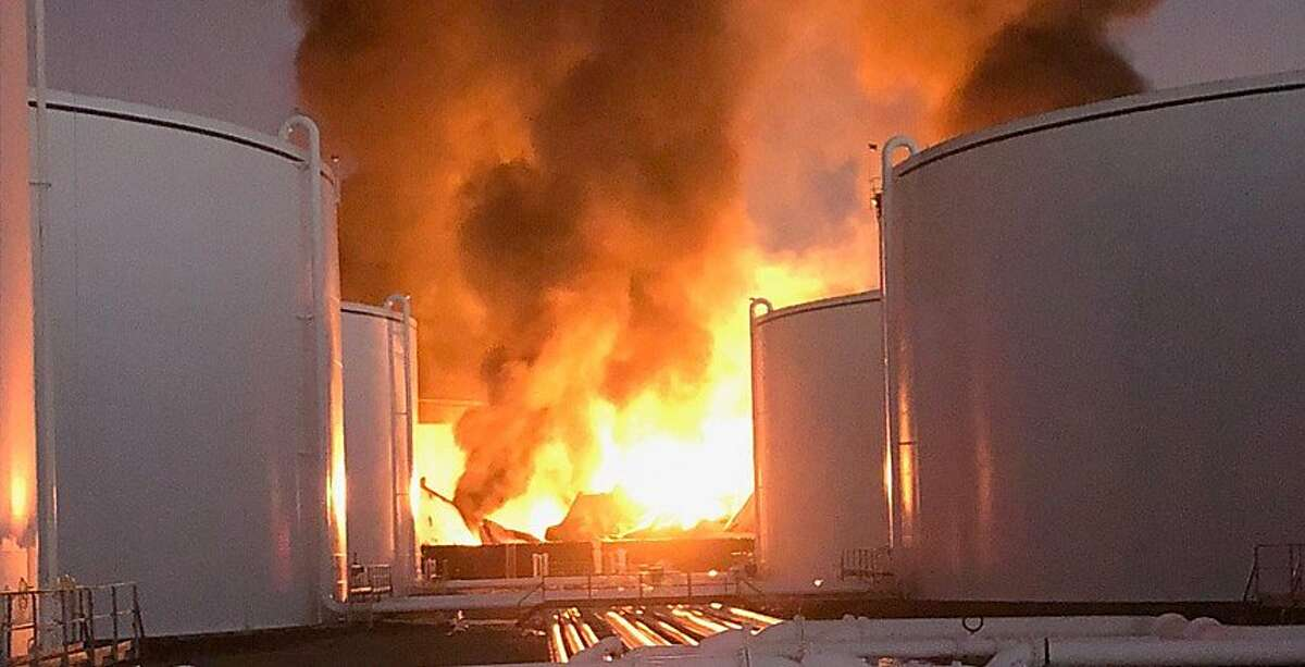 An image of the fire at NuStar Energy from a PowerPoint presentation shown during a Contra Costa County supervisors meeting is seen on Tuesday, Oct. 22, 2019 in , Calif.