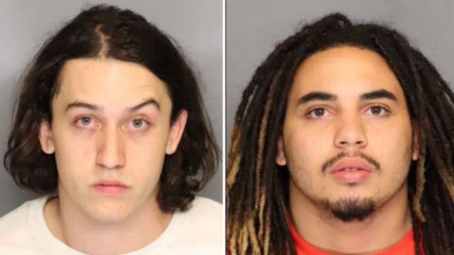 Johnny Jordan Cruz Thymiakos, 20, and Shevvy Jared Franklin, 21, were arrested on charges of burglary, conspiracy and grand theft from a person. Photo: City Of Manteca