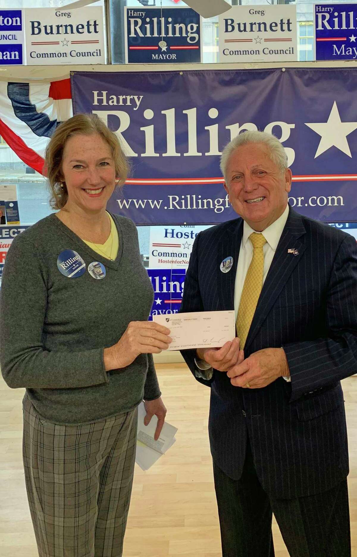 Norwalk Federation of Teachers President Mary Yordon and incumbent Democratic candidate for Mayor Harry Rilling, after Rilling received the union's endorsement at his North Main Street, Norwalk, campaign headquaters, Oct. 22, 2019.
