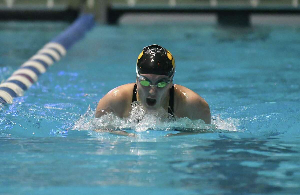 Kayla Mendonca of Daniel Hand swims the breaststroke leg of the 200 yd Individual Medley during the CIAC Open Swimming Championships on Saturday November 17, 2018, at Yale University in New Haven, Connecticut.
