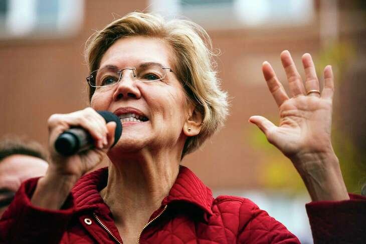 Sen. Elizabeth Warren (D-Mass.), a Democratic presidential candidate, speaks to striking Chicago Public Schools teachers and supporters in Chicago on  Oct. 22, 2019.