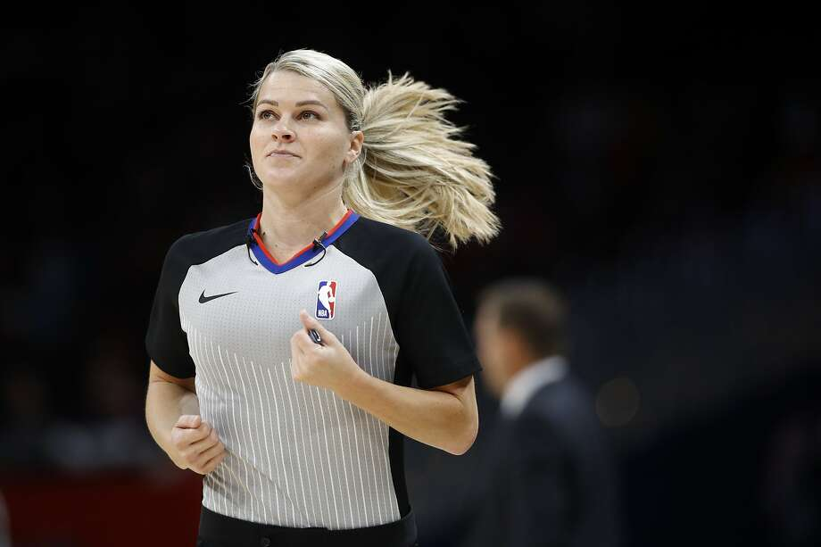 Referee Jenna Schroeder runs down the court in the first half of an NBA preseason basketball game between the Milwaukee Bucks and the Washington Wizards, Sunday, Oct. 13, 2019, in Washington. (AP Photo/Patrick Semansky) Photo: Patrick Semansky / Associated Press