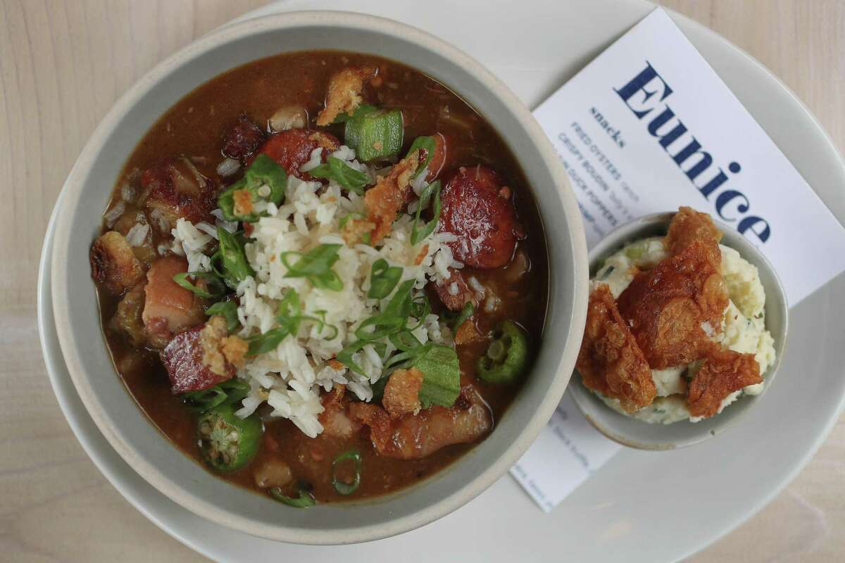 Eunice: The Greenway Plaza restaurant with a Cajun-Creole brasserie-style menu is open for dine-in. Reservations are required. Open Monday through Saturday from 11 a.m. to 8 p.m. and Sunday from 11 a.m. to 7 p.m. 3737 Buffalo Speedway, 832-491-1717, https://www.eunicerestaurant.com/home