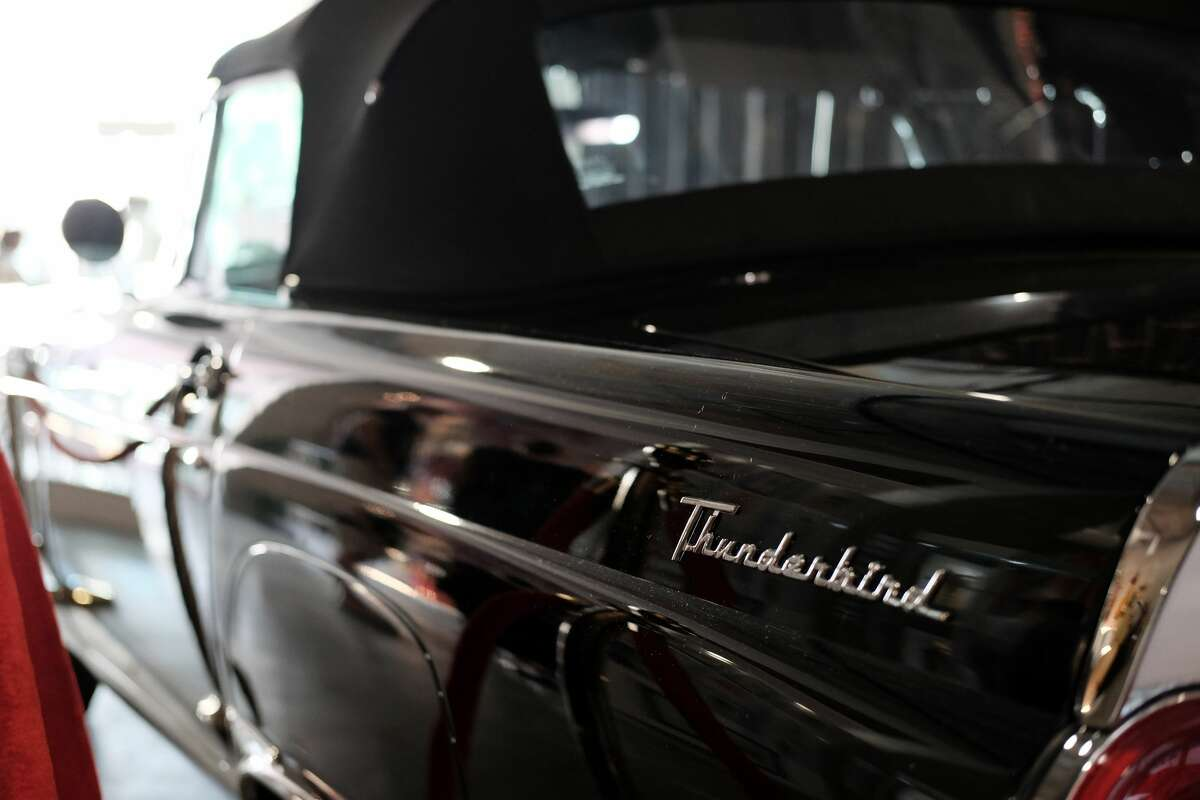 FILE - A Ford Thunderbird is seen on display at Icons & Idols: Hollywood & Street Contemporary Art Auction preview with Julien's Auctions at The Standard Oil Building Beverly Hills on November 12, 2018 in Beverly Hills, California. A Sacramento reporter landed in some trouble after reportedly damaging a couple of cars during a live broadcast.