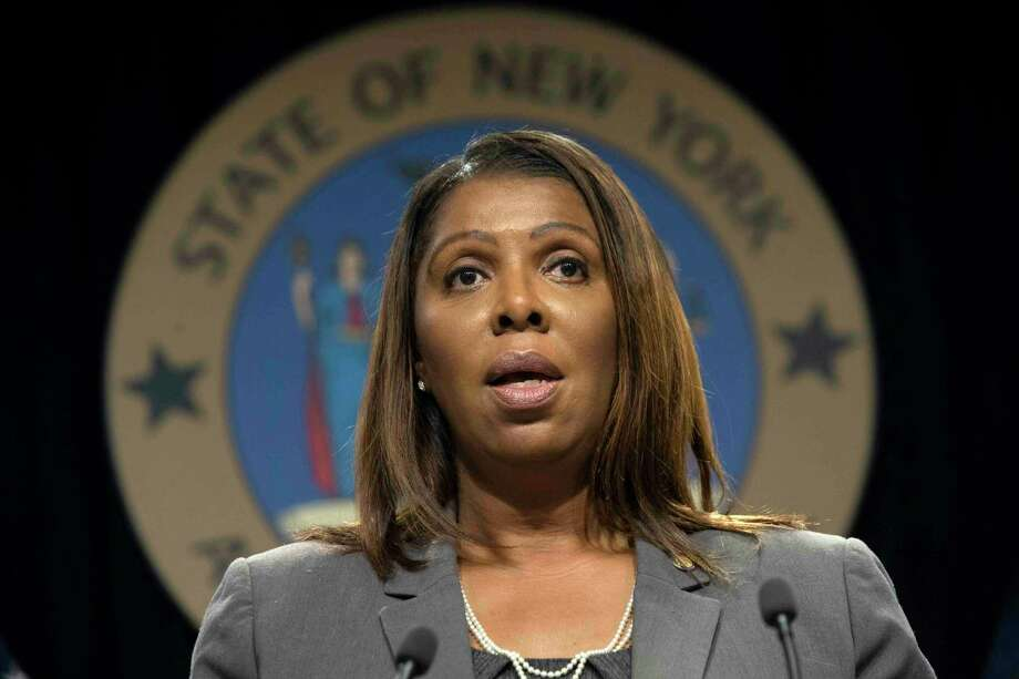 FILE - In this June 11, 2019, file photo New York Attorney General Letitia James speaks during a news conference in New York. A state-level antitrust investigation launched last month into Facebook now has the backing of a bipartisan group of 47 attorneys general, James said Tuesday, Oct. 22. (AP Photo/Mary Altaffer) Photo: Mary Altaffer / Copyright 2019 The Associated Press. All rights reserved.