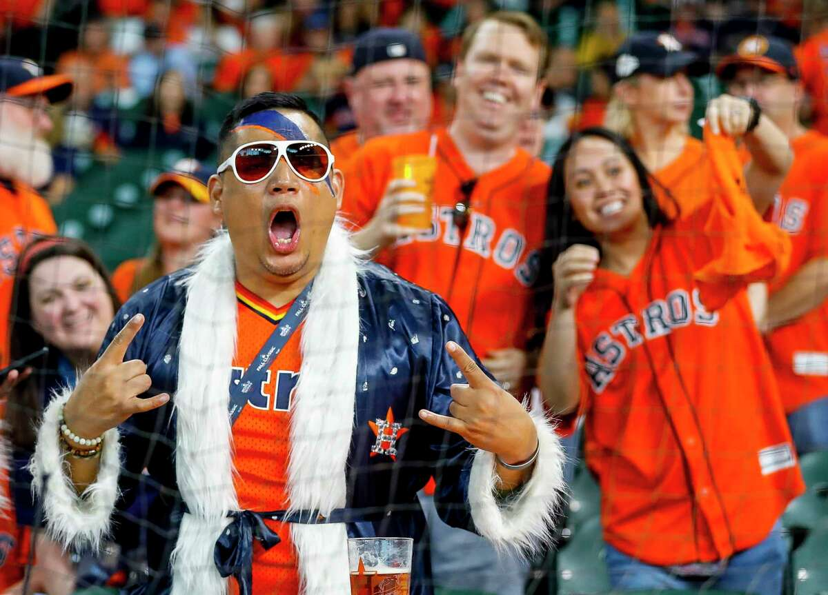 Fans cheer before Game 1 of the World Series at Minute Maid Park in Houston on Tuesday, Oct. 22, 2019.