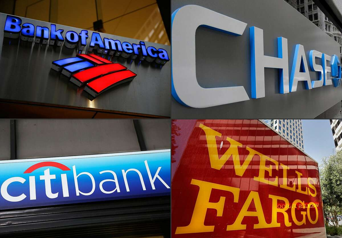 This combination made from file photos shows bank branches of, clockwise from top left, Bank of America, Chase, Wells Fargo, and Citibank. All of the nation's 31 largest banks are adequately fortified to withstand a severe U.S. and global recession and keep lending, the Federal Reserve said Thursday, March 5, 2015. (AP Photo)
