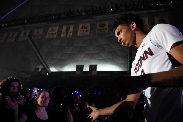 Connecticut's James Bouknight during UConn's men's and women's basketball teams annual First Night celebration in Storrs, Conn, Conn., Friday, Oct. 18, 2019, in Storrs, Conn. (AP Photo/Jessica Hill)