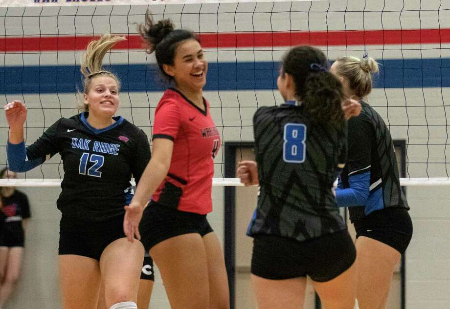 Oak Ridge celebrates after scoring during a District 15-6A match Tuesday, October 22, 2019 at Oak Ridge High School. Photo: Cody Bahn, Houston Chronicle / Staff Photographer / © 2019 Houston Chronicle