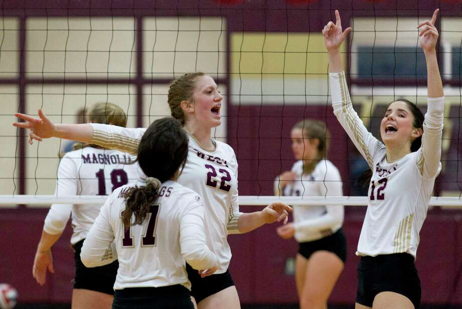 Evyn Snook #22 of Magnolia West reacts after scoring the match point during the first set of a District 19-5A high school volleyball match at Magnolia West High School, Tuesday, Oct. 8, 2019, in Magnolia Photo: Jason Fochtman, Houston Chronicle / Staff Photographer / Houston Chronicle