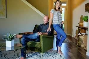 -- PHOTO MOVED IN ADVANCE AND NOT FOR USE - ONLINE OR IN PRINT - BEFORE SEPT. 2, 2018. -- Scott and Taylor Rieckens, who left Southern California in search of more financial freedom, at home in Bend, Ore., Aug. 27, 2018. Millennials especially have embraced the so-called FIRE movement — the acronym stands for financial independence, retire early — seeing it as a way out of soul-sucking, time-stealing work and an economy fueled by consumerism. (Leah Nash/The New York Times)