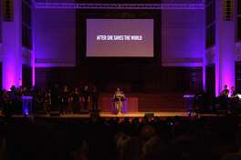 In a handout image, Rev. Yolanda Norton, center, at the Beyoncé Mass at the University of Redlands in Redlands, Calif., Jan. 21, 2019. The Beyoncé Mass, a Christian worship service inspired by the life and music of its namesake, Beyoncé Knowles-Carter, explores how issues of race and gender impact the lives, voices and bodies of African-American women. (Handout via The New York Times) -- NO SALES; FOR EDITORIAL USE ONLY WITH NYT STORY BEYONCE MASS BY BILL FRISKICS-WARREN FOR OCT. 21, 2019. ALL OTHER USE PROHIBITED. --