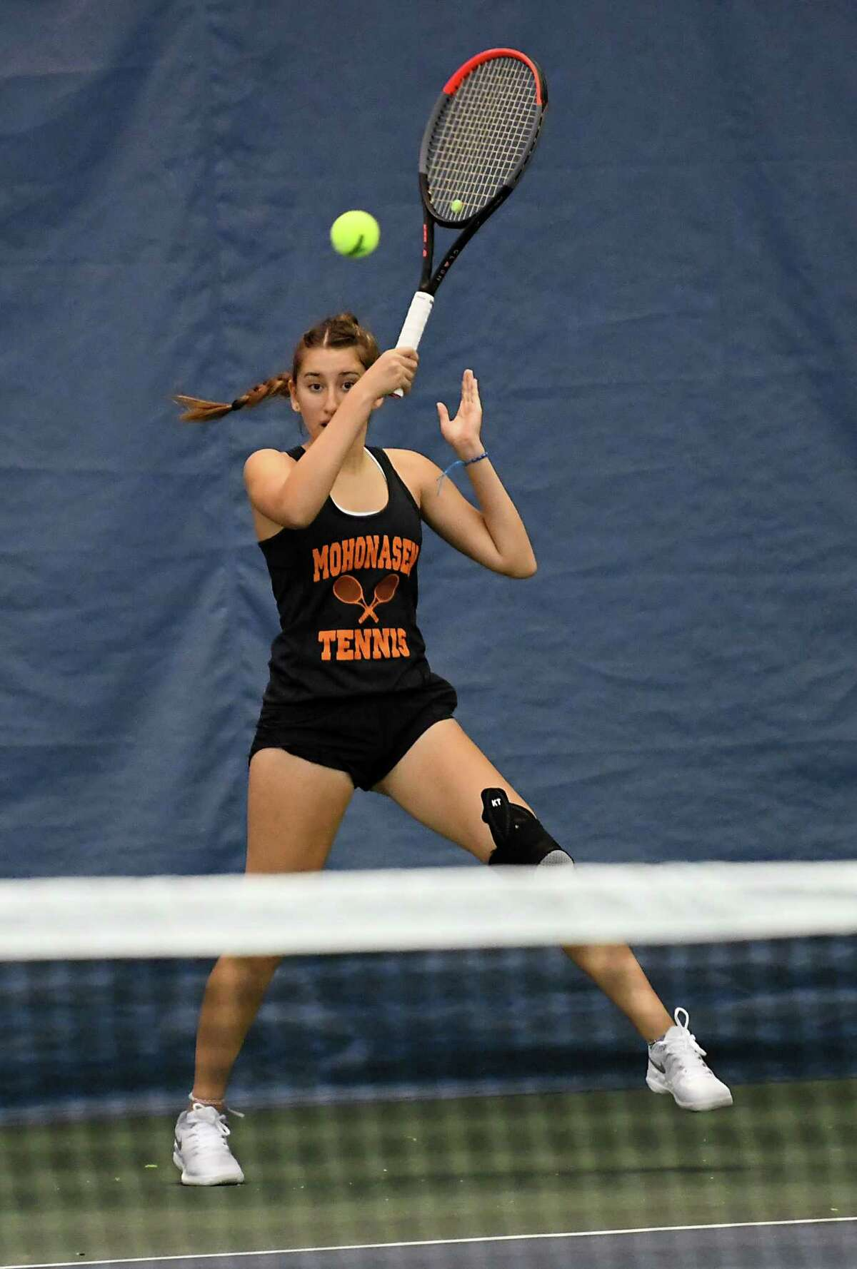 Mohonasen's Loren Cuomo, representing Schenectady, returns the ball in a singles match against Guilderland's Katrina Setchenkov during the Section II tennis finals at Sportime Schenectady on Tuesday, Oct. 22, 2019 in Schenectady, N.Y. (Lori Van Buren/Times Union)