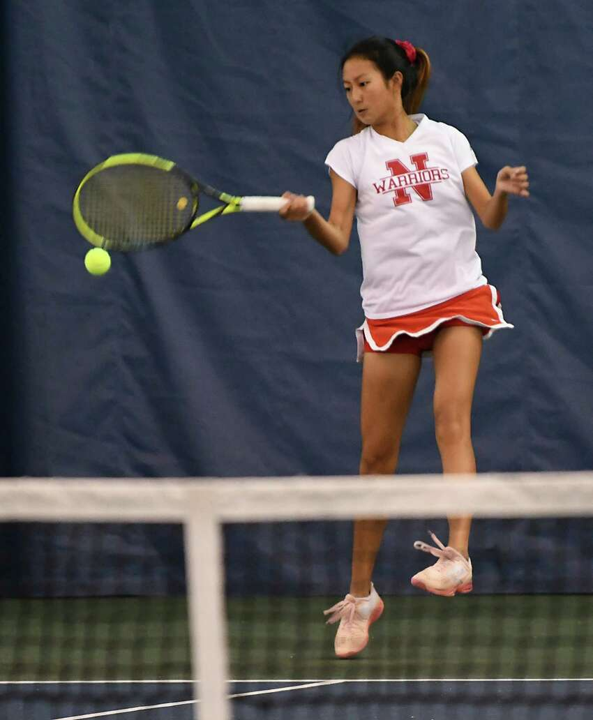 Niskayuna's Christine Lee returns the ball during a doubles match against Shaker during the Section II tennis finals at Sportime Schenectady on Tuesday, Oct. 22, 2019 in Schenectady, N.Y. (Lori Van Buren/Times Union)