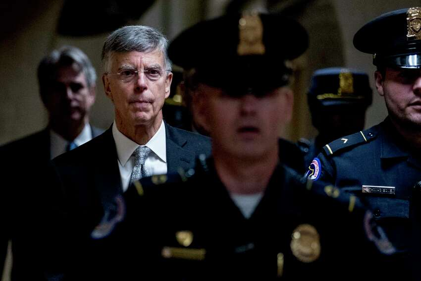 Former Ambassador William Taylor leaves a closed door meeting after testifying as part of the House impeachment inquiry into President Donald Trump, on Capitol Hill in Washington, Tuesday, Oct. 22, 2019. (AP Photo/Andrew Harnik)