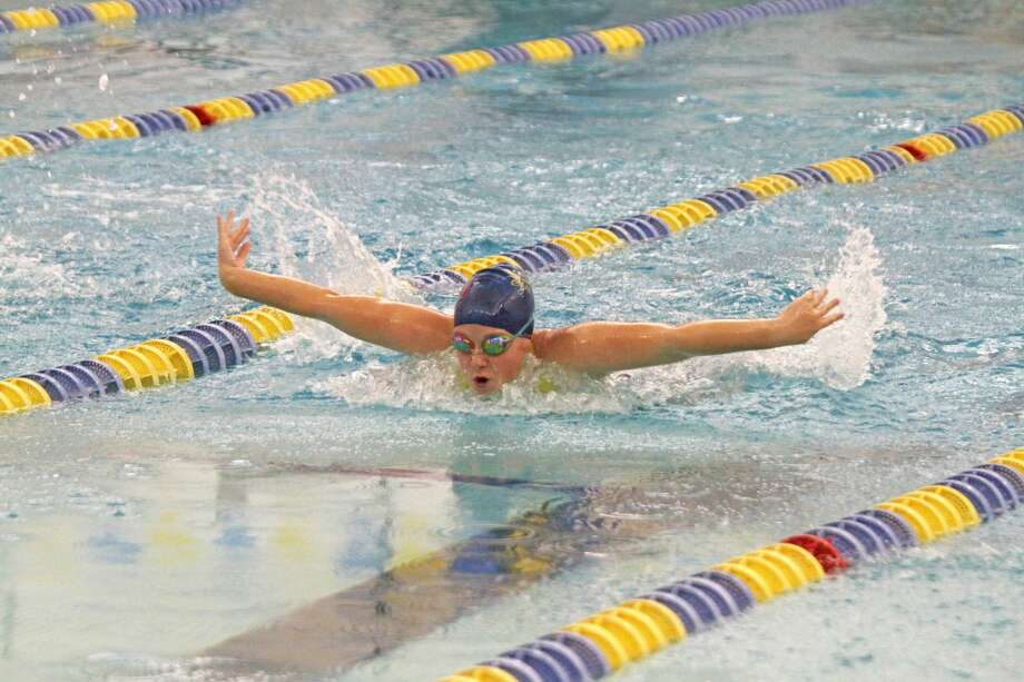 Manistee's Maygan Vasquez swims the 100-yard butterfly on Tuesday during the Chippewas' meet against Ludington. Photo: Kyle Kotecki/News Advocate