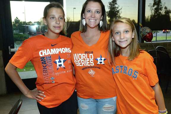 Astros fans gather to take in game 1 of the World Series against the Washington Nationals at Buffalo Wild Wings in Beaumont Tuesday. Photo taken Tuesday, October 22, 2019 Kim Brent/The Enterprise