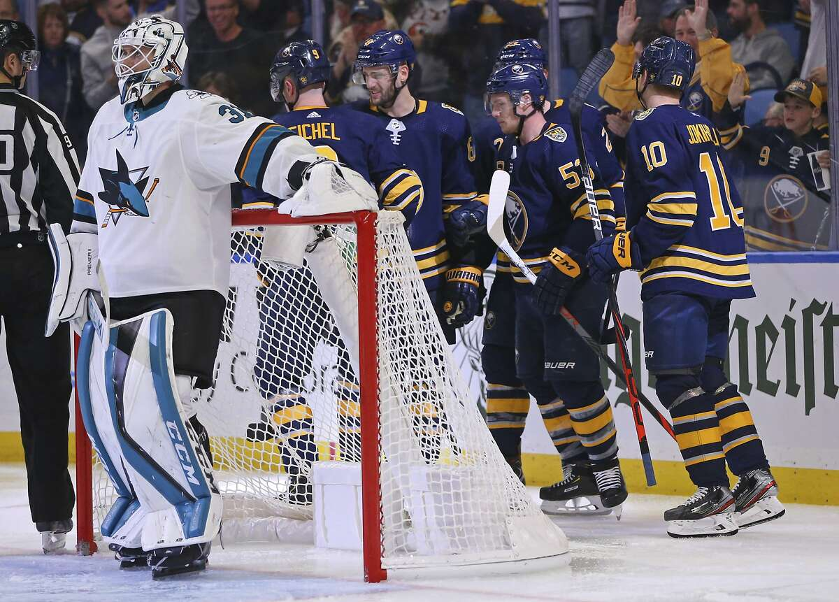 Buffalo Sabres forward Jeff Skinner (53) celebrates his goal with teammates during the third period of an NHL hockey game against the San Jose Sharks, Tuesday, Oct. 22, 2019, in Buffalo, N.Y. (AP Photo/Jeffrey T. Barnes)