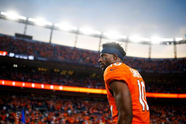 Wide receiver Emmanuel Sanders #10 of the Denver Broncos stands on the field before a game against the Kansas City Chiefs at Empower Field at Mile High on October 17, 2019 in Denver, Colorado. (Photo by Justin Edmonds/Getty Images)